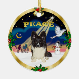 Wise Men - Bi Black Welsh Corgi Christmas Ornament
