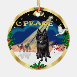 Wise Men - Schipperke Round Ceramic Decoration