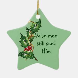 """Wise men still seek Him"" Christmas Holly Design Ceramic Star Decoration"