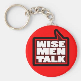 Wise men talk graphic red keychain basic round button keychain