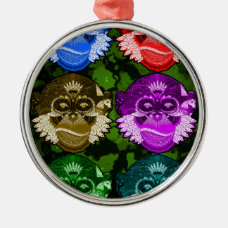 Wise Monkey Face Mask Silver-Colored Round Decoration