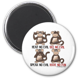 Wise Monkeys Humour 6 Cm Round Magnet
