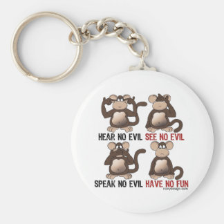 Wise Monkeys Humour Basic Round Button Key Ring