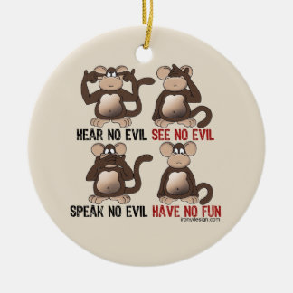 Wise Monkeys Humour Christmas Ornament