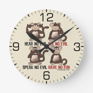 Wise Monkeys Humour Round Clock