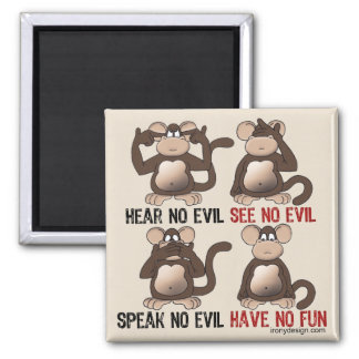 Wise Monkeys Humour Square Magnet