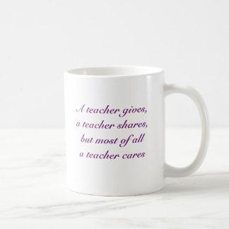 Wise Owl A Teacher Cares Coffee Mug