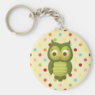 Wise Owl Basic Round Button Key Ring