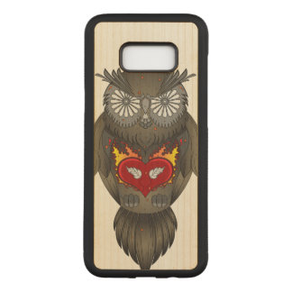 Wise Owl Illustration Carved Samsung Galaxy S8+ Case