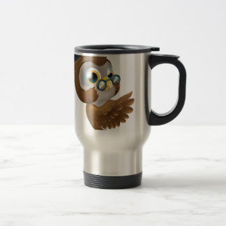 Wise Owl Pointing Sign Mugs