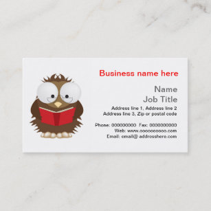 Book business cards zazzle uk wise owl reading book stationery business card reheart Gallery