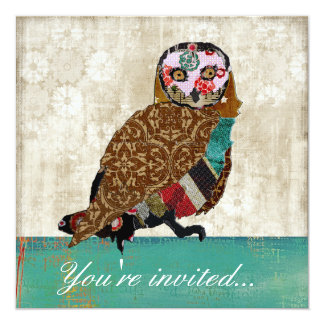 "Wise Owl Teal &  White Invitation 5.25"" Square Invitation Card"