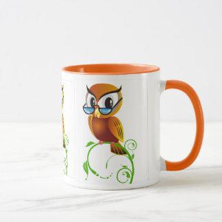 Wise owl w glasses mug