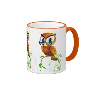 Wise owl w glasses ringer mug