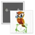 Wise owl with glasses pin
