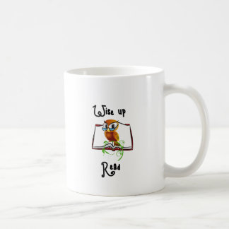 Wise Perched Book Owl Coffee Mugs