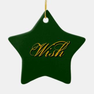Wish - Green Ceramic Star Decoration