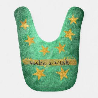 Wish Hollywood Star Shiny Green Gold Baby Bib