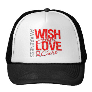 Wish Hope Love Cure AIDS HIV Hats