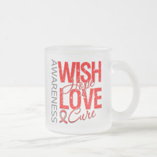 Wish Hope Love Cure AIDS HIV Frosted Glass Mug