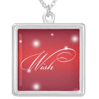 WISH sentiment elegant script red glow keepsake Square Pendant Necklace