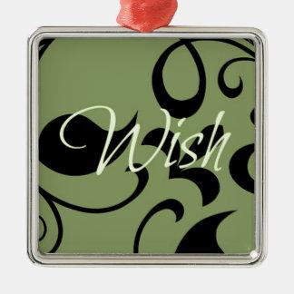 wish Silver-Colored square decoration