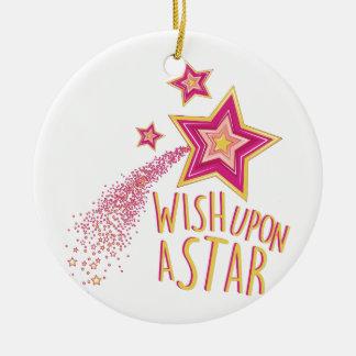 Wish Upon Star Round Ceramic Decoration