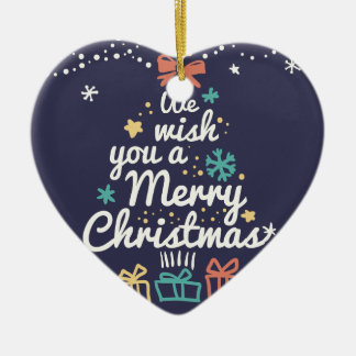 Wish you a Merry Christmas Ceramic Heart Decoration