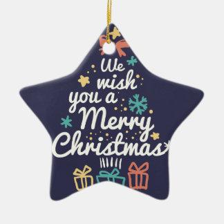 Wish you a Merry Christmas Ceramic Star Decoration