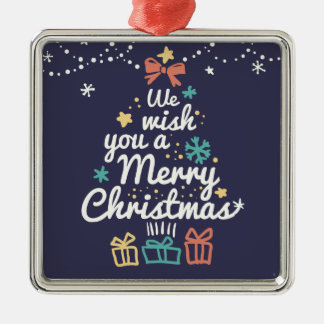 Wish you a Merry Christmas Silver-Colored Square Decoration