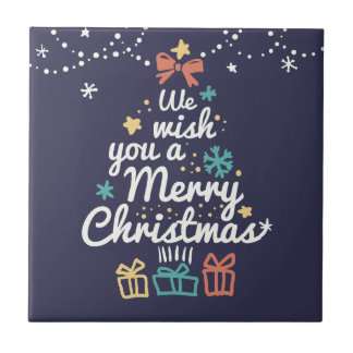 Wish you a Merry Christmas Small Square Tile