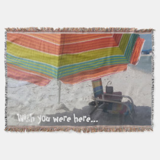 Wish you were here Beach Print Throw Blanket
