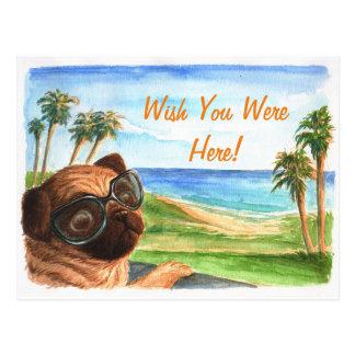 Wish you were here pug postcard