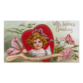 Wishbone, Roses and Girl Vintage Valentine Posters