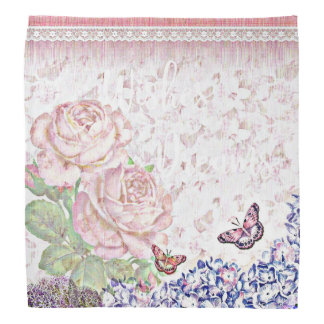 Wishes and Dreams Shabby Flowers Butterflies Pink Bandana