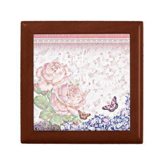 Wishes and Dreams Shabby Flowers Butterflies Pink Gift Box