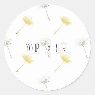 Wishes Dandelion Flowers Round Sticker