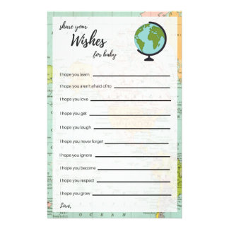 Wishes For Baby - Baby Shower - Multicolor Map Flyer