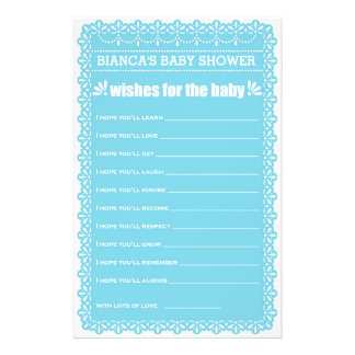 Wishes for Baby Blue Papel Picado Baby Shower 14 Cm X 21.5 Cm Flyer