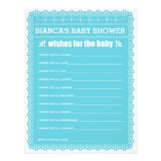 Wishes for Baby Blue Papel Picado Baby Shower 21.5 Cm X 28 Cm Flyer