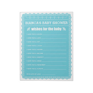 Wishes for Baby Blue Papel Picado Baby Shower Notepad