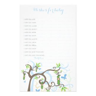 Wishes For Baby Boy Pea In A Pod Custom Template Custom Stationery
