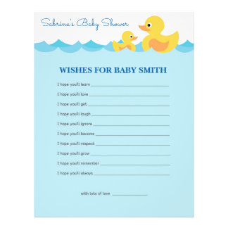 Wishes for Baby Cute Rubber Duck  Baby Shower Game 21.5 Cm X 28 Cm Flyer