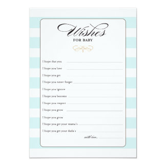Wishes for Baby Game Card - Blue 13 Cm X 18 Cm Invitation Card