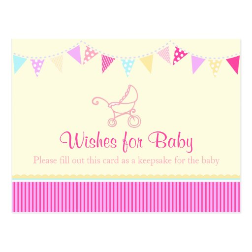 Wishes for baby - girl baby shower pink postcard