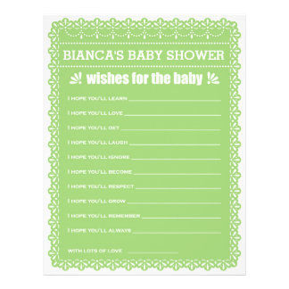 Wishes for Baby Green Papel Picado Baby Shower 21.5 Cm X 28 Cm Flyer