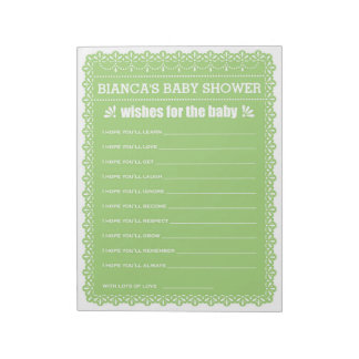 Wishes for Baby Green Papel Picado Baby Shower Notepad