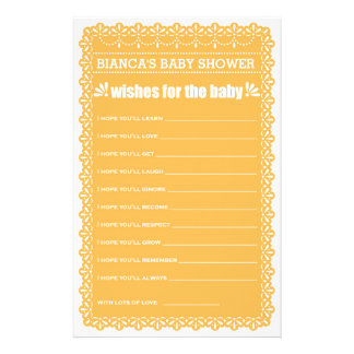 Wishes for Baby Orange Papel Picado Baby Shower 14 Cm X 21.5 Cm Flyer