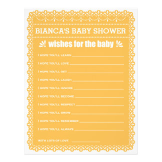 Wishes for Baby Orange Papel Picado Baby Shower 21.5 Cm X 28 Cm Flyer
