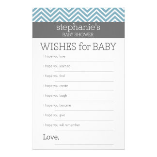 Wishes for Baby - Pastel Blue Chevrons Shower Game Customized Stationery